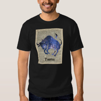 Taurus Bull Space Collage On Old Book Page Shirt