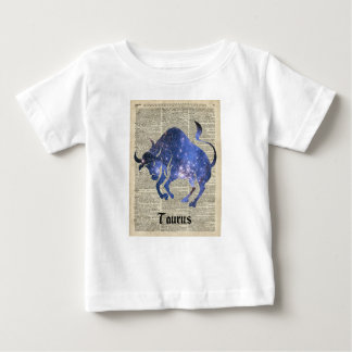 Taurus Bull Space Collage On Old Book Page T Shirts