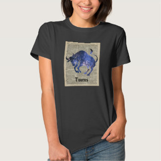 Taurus Bull Space Collage On Old Book Page Tee Shirt