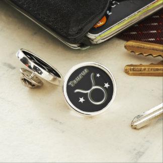 Taurus chrome symbol lapel pin