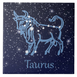 Taurus Constellation and Zodiac Sign with Stars Large Square Tile