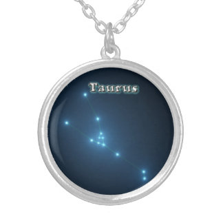 Taurus constellation silver plated necklace
