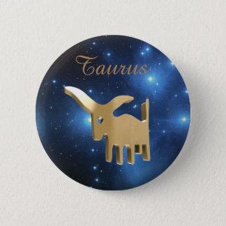 Taurus golden sign 6 cm round badge