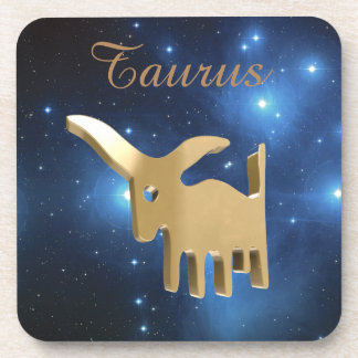 Taurus golden sign coaster