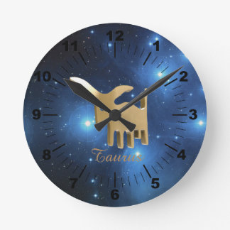 Taurus golden sign round clock