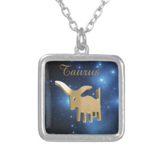 Taurus golden sign square pendant necklace
