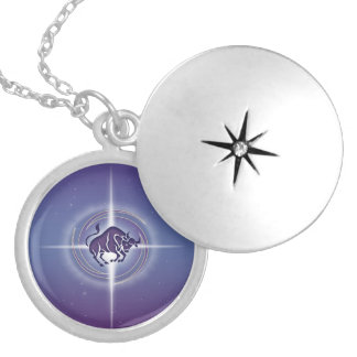 Taurus Horoscope Lavender HLRX Silver Plated Necklace