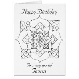 Happy birthday taurus cards invitations zazzle taurus mandala color your own birthday card bookmarktalkfo Choice Image