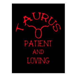 Taurus (Red Text) Postcard