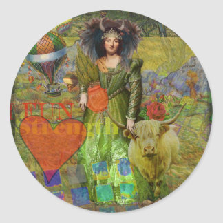 Taurus Surreal Fantasy Steampunk Astrology Classic Round Sticker