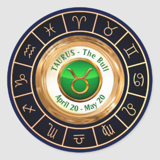 Taurus - The Bull Astrological Symbol Round Sticker