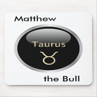Taurus the bull personalised name mousepad