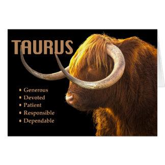 Taurus the Bull Zodiac Card with Characteristics
