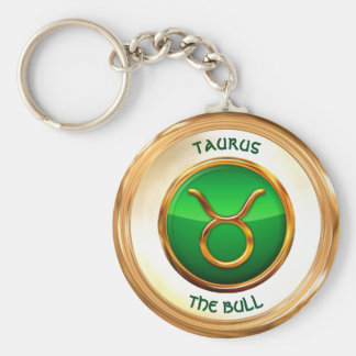 Taurus - The Bull Zodiac Sign Basic Round Button Key Ring