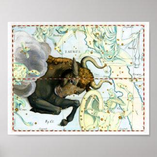 Taurus Zodiac Antique Star Chart Poster