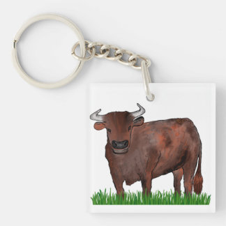 Taurus Zodiac Art Key Ring Double-Sided Square Acrylic Key Ring