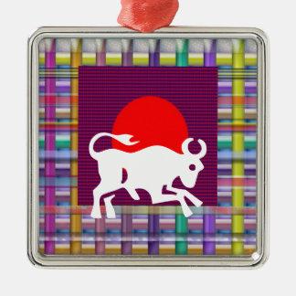 TAURUS Zodiac Astrology Jyotish Symbols Square Metal Christmas Ornament