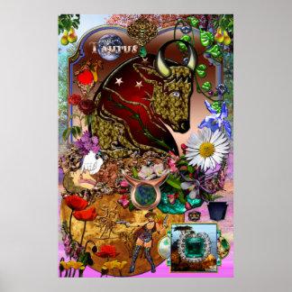Taurus Zodiac Collage Poster