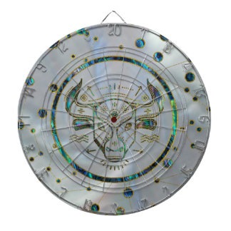 Taurus Zodiac Gold Abalone on Constellation Dartboard