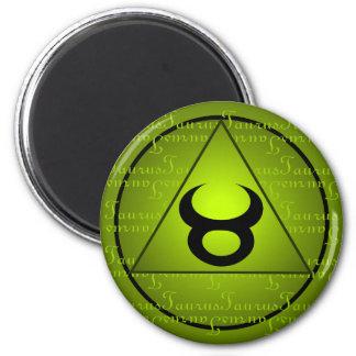 Taurus Zodiac Green Triangle Curly Script 6 Cm Round Magnet