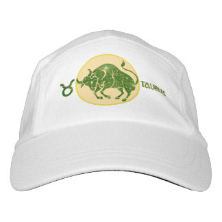 Taurus Zodiac Knit Performance Hat, White Cap
