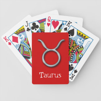Taurus Zodiac-Red-faux metal Bicycle Playing Cards