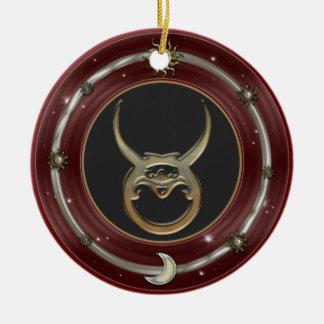 Taurus Zodiac Sign Round Ceramic Decoration