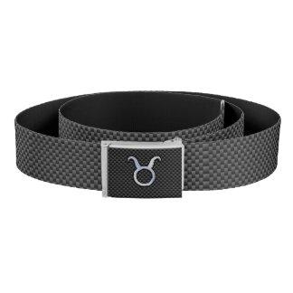 Taurus Zodiac Sign on Carbon Fiber Style Belt
