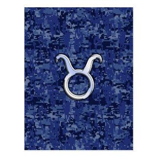Taurus Zodiac Sign on Navy Blue Digital Camouflage Postcard