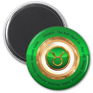 Taurus' Zodiac Sign Personality Traits 6 Cm Round Magnet