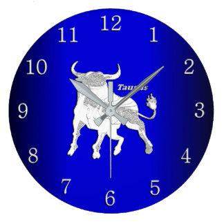 Taurus Zodiac Symbol Cobalt Blue  Wall Clock
