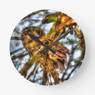 TAWNY FROGMOUTH OWL AUSTRALIA ART EFFECTS WALLCLOCKS