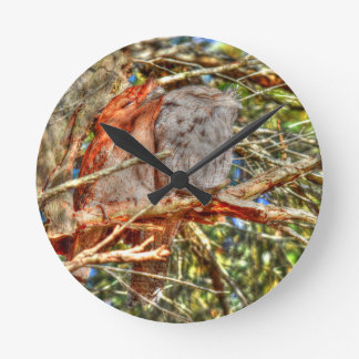 TAWNY FROGMOUTHS WITH ART EFFECTS AUSTRALIA WALLCLOCK