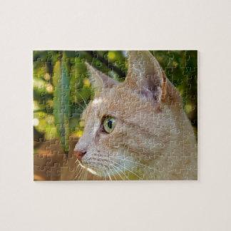Tawny Green Eyed Kitty Cat Jigsaw Puzzle