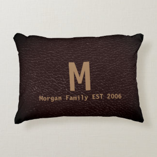 Tawny Leather Look with Family Name Accent Pillow
