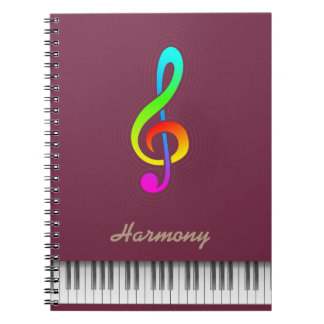 """Tawny port"" color & treble clef piano Spiral Notebook"