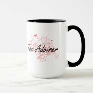 Tax Adviser Artistic Job Design with Butterflies Mug