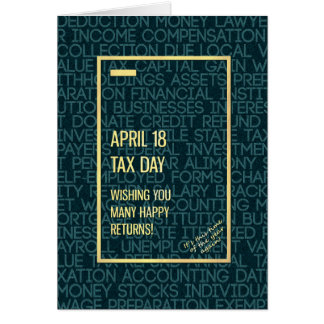 Tax Day April 18 Simple Modern Words Greeting Card
