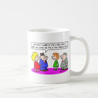 tax deduction pregnant boy or girl coffee mugs