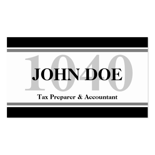 Tax Prep Stripes 1040 White Business Card