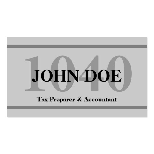 Tax Preparation 1040 Grey Business Card Template