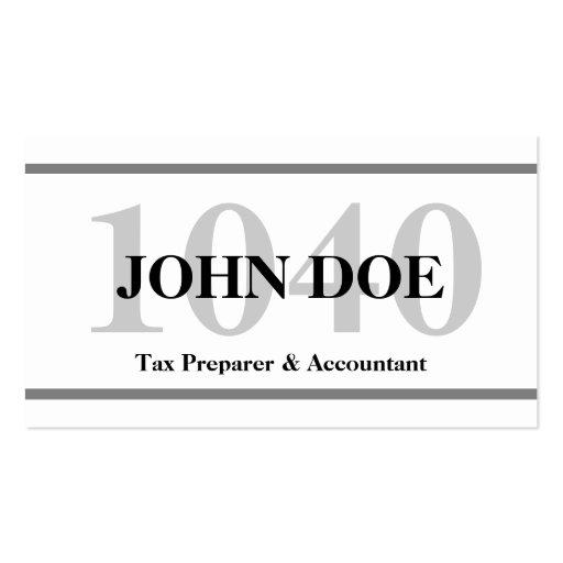 Tax Preparation 1040 W/W Business Card