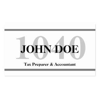 Tax Preparation 1040 W/W Pack Of Standard Business Cards