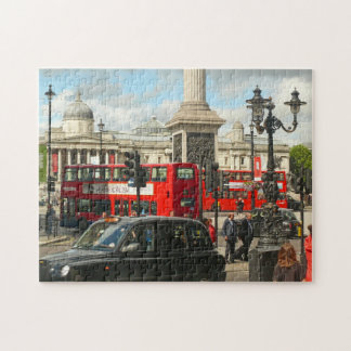 Taxi and Buses, Bustling Trafalgar Square, London Puzzle