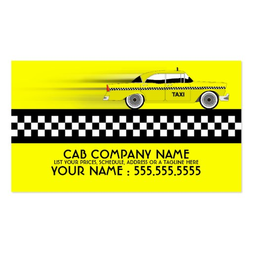 Taxi cab pack of standard business cards zazzle for Taxi business card template