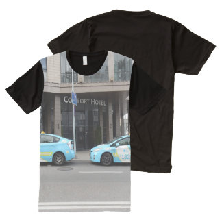 Taxi Cabs in Vilnius Lithuania All-Over Print T-Shirt