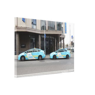 Taxi Cabs in Vilnius Lithuania Canvas Print