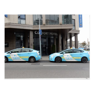 Taxi Cabs in Vilnius Lithuania Postcard