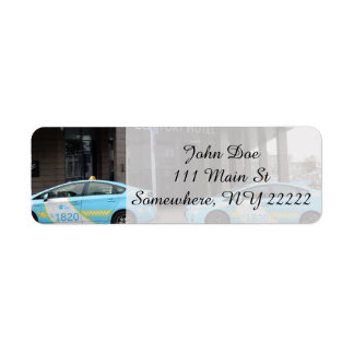 Taxi Cabs in Vilnius Lithuania Return Address Label