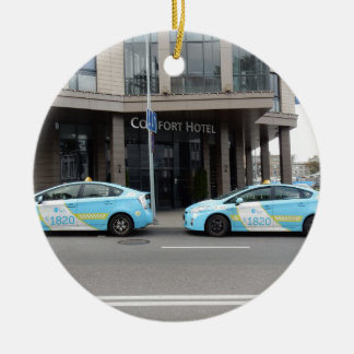 Taxi Cabs in Vilnius Lithuania Round Ceramic Decoration